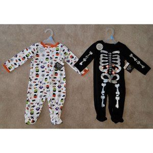 NWT 2 Halloween Baby Sleeper Outfit Lot 3-6 months